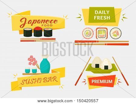 Japanese sushi and rolls, wooden chopsticks, vase with flowers. Traditional asian kitchen logotype, wrapped rice banner for restaurant. Makizushi with sauce cuisine and seafood menu
