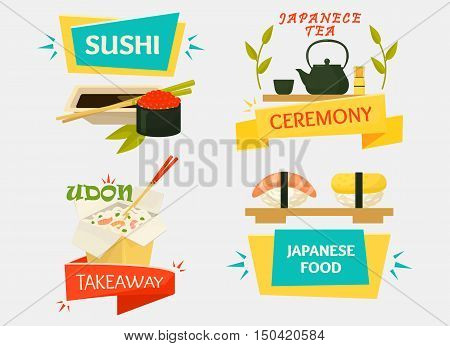 Uramaki sushi with wasabi sauce, japanese makizushi with chopsticks and tea kettle with cups for ceremony, udon soup or rice noodle. Good for traditional kitchen banner or seafood restaurant logo