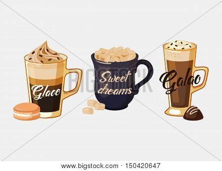 Glace coffee with ice cream and portugal galao made of espresso and milk foam, cup with iced sugar and sweet dreams text. Ideal for cafe logo and restaurant banner, coffeeshop advertisement
