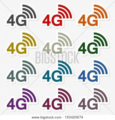 Color 4G icons set on gray background