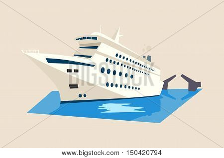 Yacht or liner, ship or boat on water with moveable bridge. Cruise logo or travel banner, caribbean vacation emblem or journey voyage sign. Great for nautical poster or maritime emblem, tourist theme