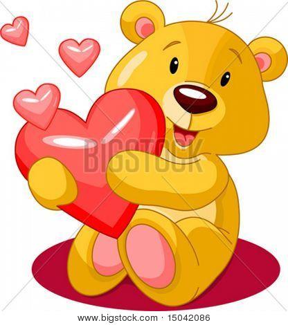 Cute little bear holding red heart. Vector illustration