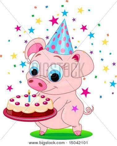 Piglet  holding birthday cake, smiling. Vector illustration