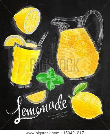 Lemonade elements chalk drawings glass lemon jug mint lettering lemonade drawing on chalkboard background