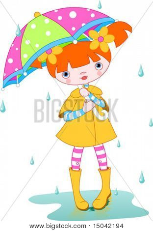 Girl wearing rain gear, carrying  umbrella. Vector