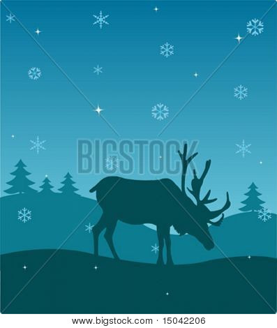 Winter night. Nature. Deer. Vector illustration