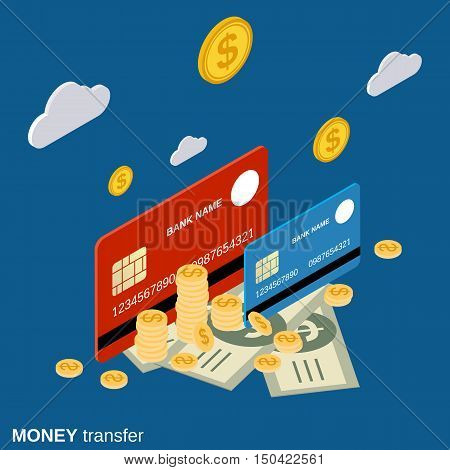 Money transfer, financial transaction, online banking flat isometric vector concept illustration