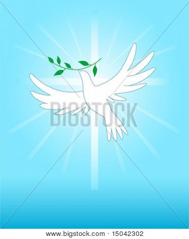 Peace dove on the cross background. All elements are conveniently grouped