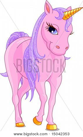Vector Illustration of walking cute pink Unicorn.