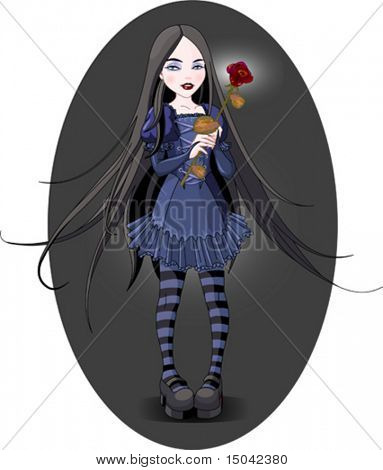 Goth stile girl holding withered rose. Background is separate.