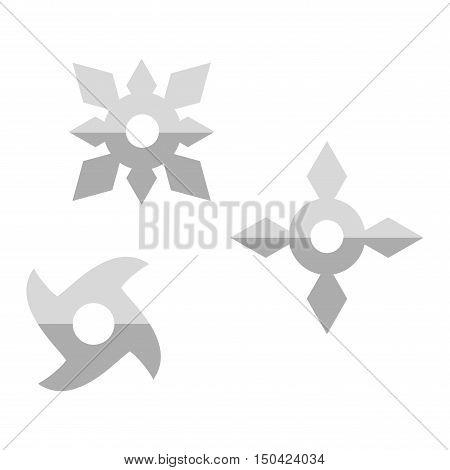 Ninja shuriken star weapon icon in flat style isolated on white background. Japan martial steel shuriken blade sharp. Traditional ninja japanese shuriken karate fight symbol vector.