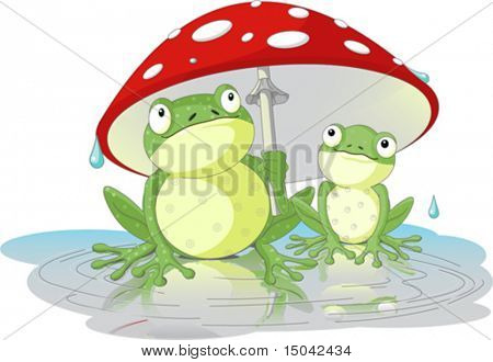 Two frogs wearing rain gear under  mushroom