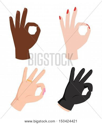 Ok hands success gesture and okey hands yes agreement. Okey hands signal business human agree. Best approval accept. Silhouette of hands showing symbol of all ok
