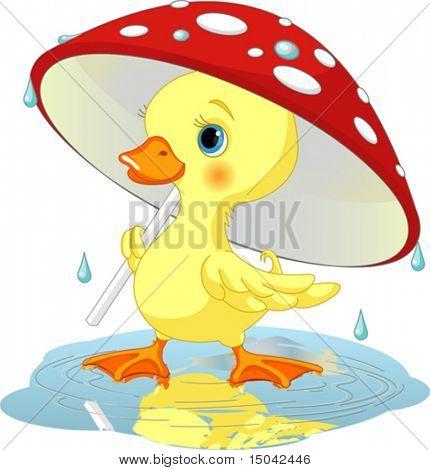 Süß Entlein tragen Regen gear unter Pilz Dach