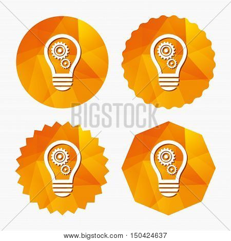 Light lamp sign icon. Bulb with gears and cogs symbol. Idea symbol. Triangular low poly buttons with flat icon. Vector