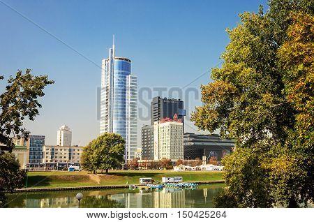 Minsk, Belarus - September 13, 2016: View of center of Minsk city across the Svisloch river