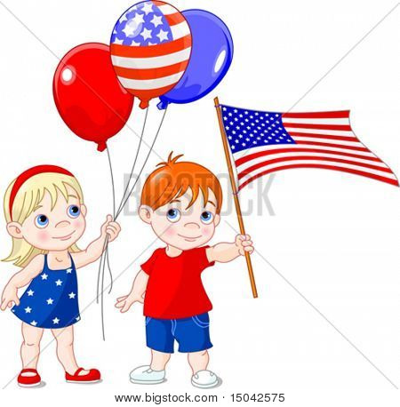 Boy holding American flag  and a girl with balloons