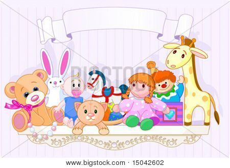 Shelf full of baby toys with place for copy\text