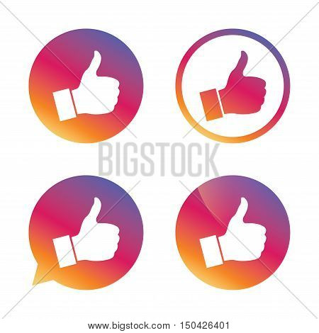 Like sign icon. Thumb up sign. Hand finger up symbol. Gradient buttons with flat icon. Speech bubble sign. Vector