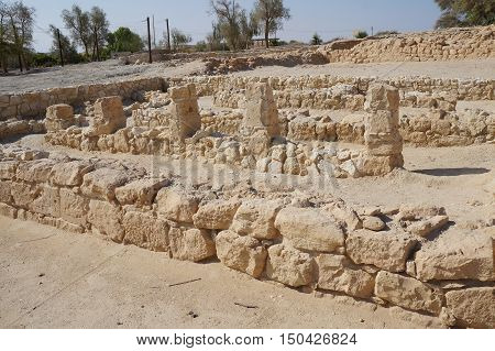 Biblical Tamar park, Arava, South Israel. Remains of Israelite period four rooms house