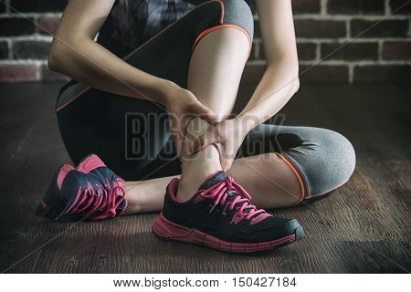 Her Ankle Injured In Gym Fitness Exercise Training, Healthy Lifestyle