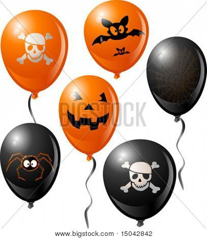 Halloween balloon set. Includes bat, skull, pumpkin, spider and spider web.