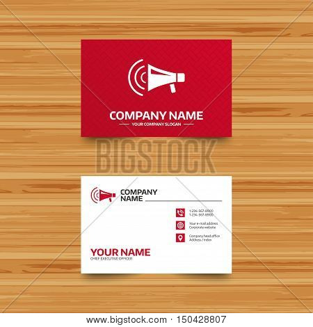 Business card template. Megaphone sign icon. Loudspeaker strike symbol. Phone, globe and pointer icons. Visiting card design. Vector