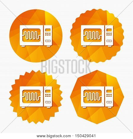 Microwave oven sign icon. Kitchen electric stove symbol. Triangular low poly buttons with flat icon. Vector