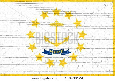 Rhode Islander official flag symbol. American patriotic element. USA banner. United States of America background. Flag of the US state of Rhode Island on brick wall texture background, 3d illustration