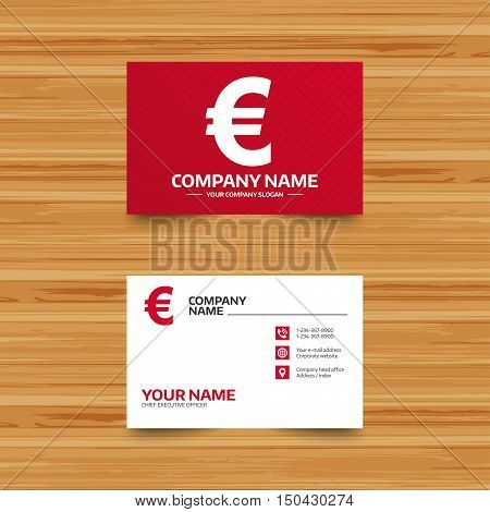 Business card template. Euro sign icon. EUR currency symbol. Money label. Phone, globe and pointer icons. Visiting card design. Vector