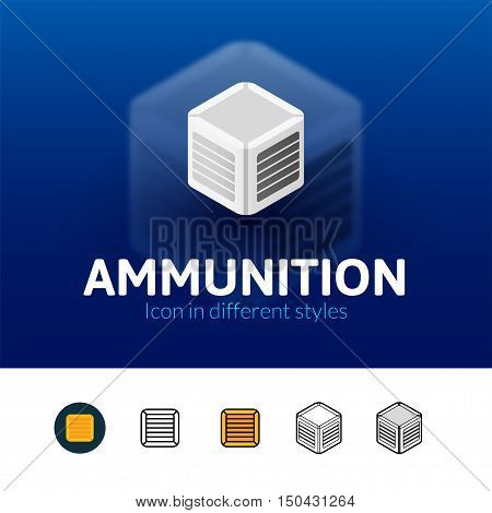 Ammunition color icon, vector symbol in flat, outline and isometric style isolated on blur background
