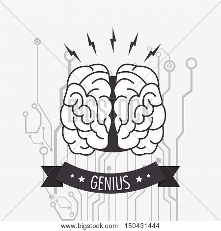 genius human brain and circuit  icon image vector illustration design