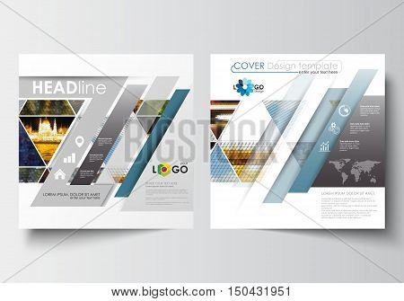 Business templates for square design brochure, magazine, flyer, booklet or annual report. Leaflet cover, abstract flat layout, easy editable blank. Abstract multicolored background of nature landscapes, geometric triangular style, vector illustration
