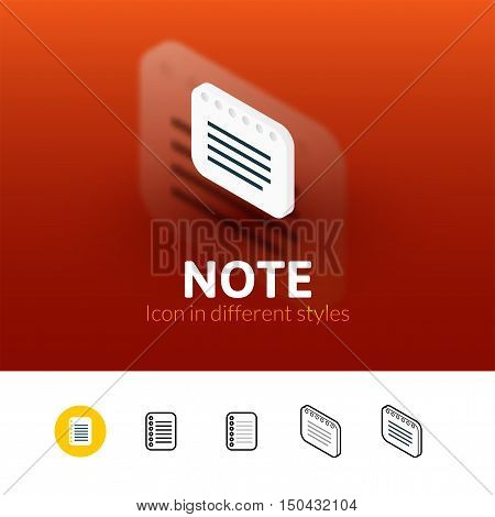 Note color icon, vector symbol in flat, outline and isometric style isolated on blur background