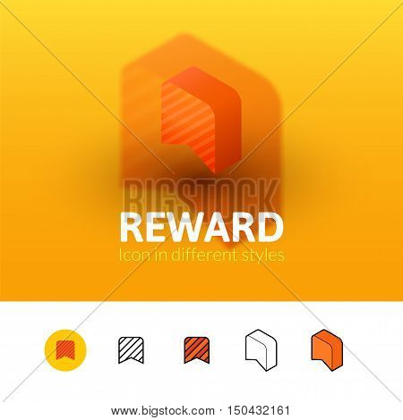 Reward color icon, vector symbol in flat, outline and isometric style isolated on blur background