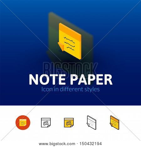 Note paper color icon, vector symbol in flat, outline and isometric style isolated on blur background
