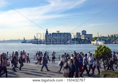 Istanbul, Turkey - May 29, 2016: The centre of Kadıköy today is the transportation hub for people commuting between the Asian side of the city and the European side across the Bosphorus. There is a large bus and minibus terminal next to the ferry docks.