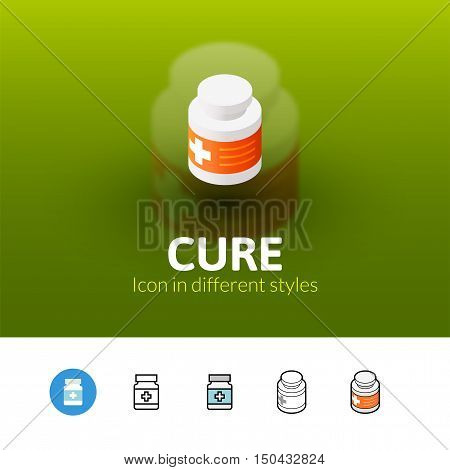Cure color icon, vector symbol in flat, outline and isometric style isolated on blur background