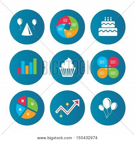 Business pie chart. Growth curve. Presentation buttons. Birthday party icons. Cake, balloon, hat and muffin signs. Celebration symbol. Cupcake sweet food. Data analysis. Vector