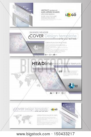 Social media and email headers set, modern banners. Business templates. Cover design template, easy editable, abstract flat layout in popular sizes. Molecule structure on blue background. Science healthcare background, medical vector.