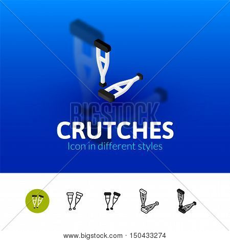 Crutches color icon, vector symbol in flat, outline and isometric style isolated on blur background
