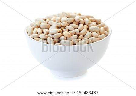 Bow of canellini beans isolated on white background