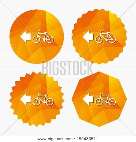 Bicycle path trail sign icon. Cycle path. Left arrow symbol. Triangular low poly buttons with flat icon. Vector