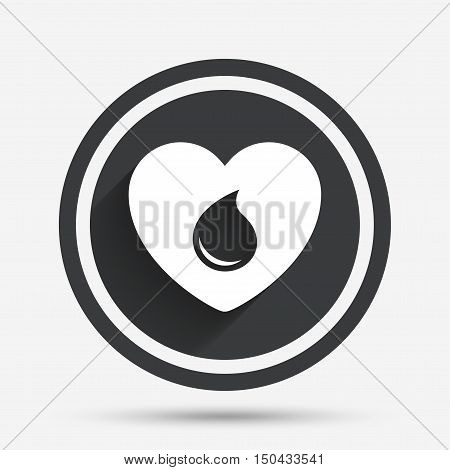 Blood donation sign icon. Medical donation. Heart with blood drop. Circle flat button with shadow and border. Vector