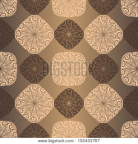 Seamless vintage brown pattern with openwork squares vector
