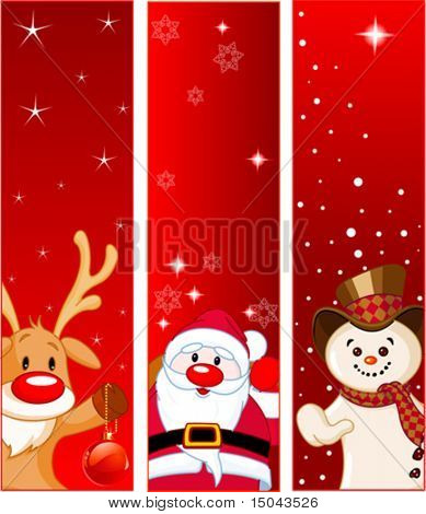 Vector Christmas Banners with snowmen, Santa and