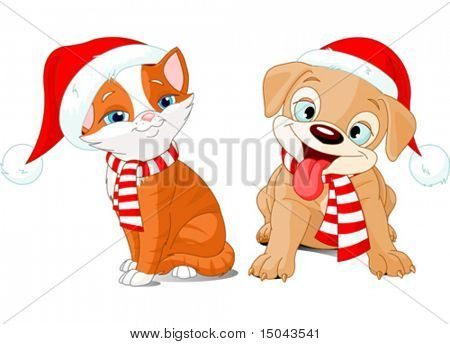 Vector illustration of Christmas cartoon puppy and kitten
