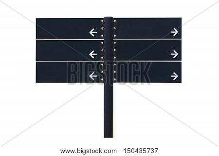 Blank Direction Black Signpost Isolated On White Background.