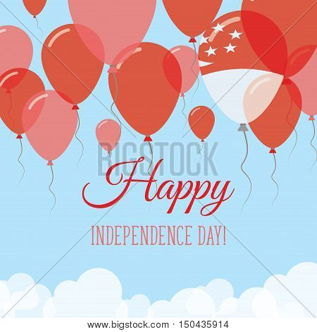 Singapore Independence Day Flat Greeting Card. Flying Rubber Balloons In Colors Of The Singaporean F