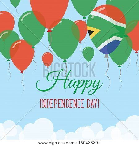 South Africa Independence Day Flat Greeting Card. Flying Rubber Balloons In Colors Of The South Afri